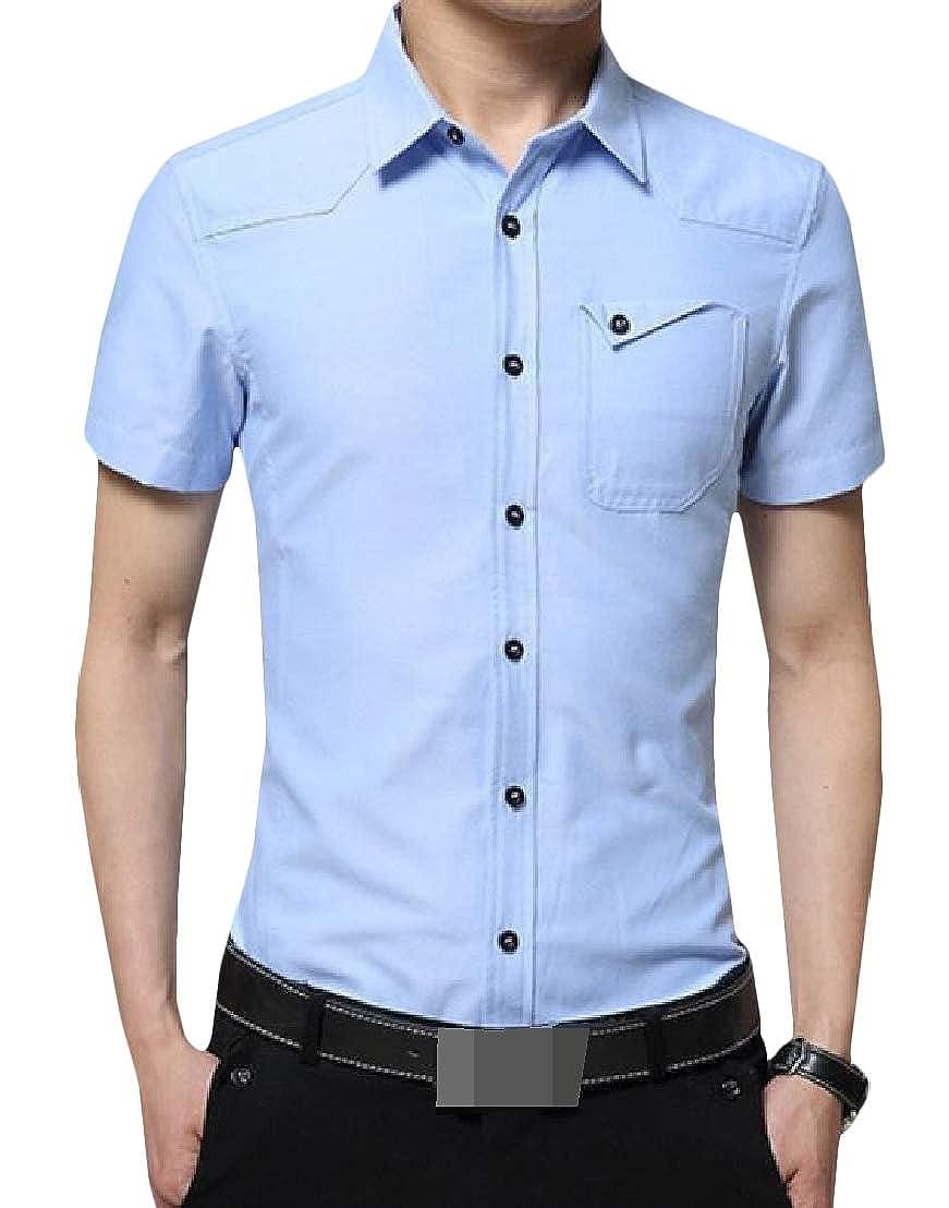 Wofupowga Men Classic Fit Lapel Button Down Short Sleeve Pure Color Shirts