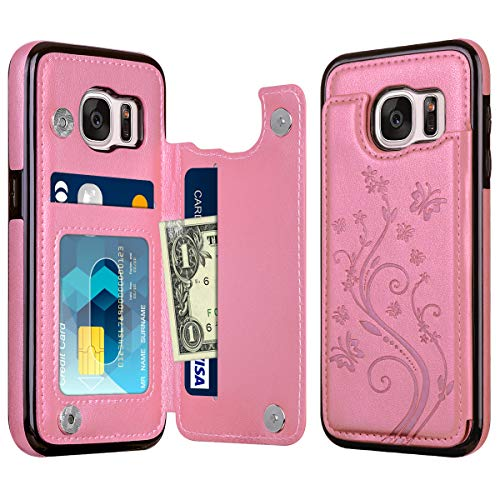 HianDier Wallet Case for Galaxy S7, Slim Protective Case with Credit Card Slot Holder Flip Folio Soft PU Leather Magnetic Closure Cover Case Compatible with Samsung Galaxy S7, Pink