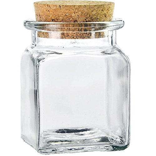 Couronne Company Couronne Co, Clear, Square Glass Jar with Cork, 6154-C, 8.5 Ounce, 1 Piece, 8.5oz