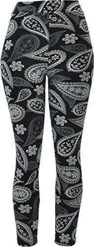 Hand By Hand Aprileo Women's Plush Fleece Lined Leggings Paisley Jegging Thick [02 Pattern](Small/Medium)