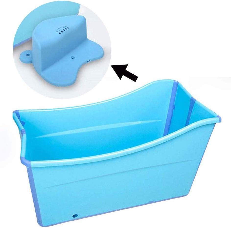 ZHOU LI Gran Bañera Plegable con Taburete Piscina Bañera Independiente Bañera para Adultos/Personas Mayores SPA Acrecentamiento, Largo Tiempo De Aislamiento con Cubierta (Color : Blue)