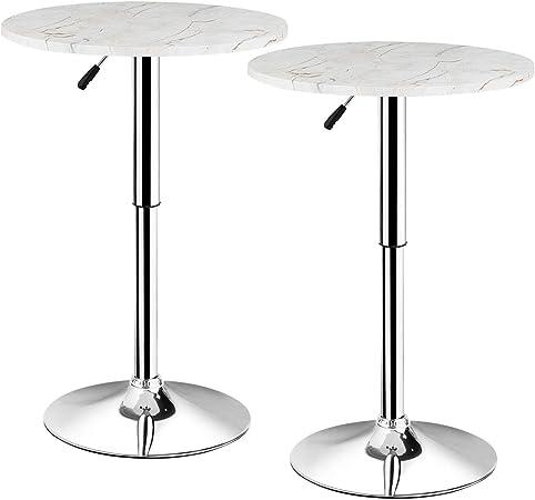 COSTWAY Table de Bar Bistrot Ronde avec l\'impression de ...