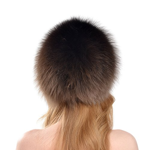 BeadChica Women Fox Fur Winter Hat- Luxurious Warm Skiing Hats Cap For Girls Winter Beanie (Khaki) by BeadChica (Image #2)