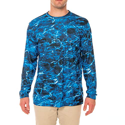 Vapor Apparel Mossy Oak Elements - Marlin Men's UPF 50+ Long Sleeve T-Shirt XX-Large (Marlin Fishing Blue)