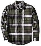 Amazon Essentials Men's Regular-Fit Long-Sleeve Plaid Flannel Shirt, Olive Plaid, XX-Large
