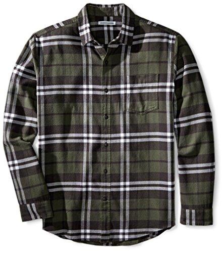Olive Plaid Flannel - Amazon Essentials Men's Regular-Fit Long-Sleeve Plaid Flannel Shirt, Olive Plaid, X-Small