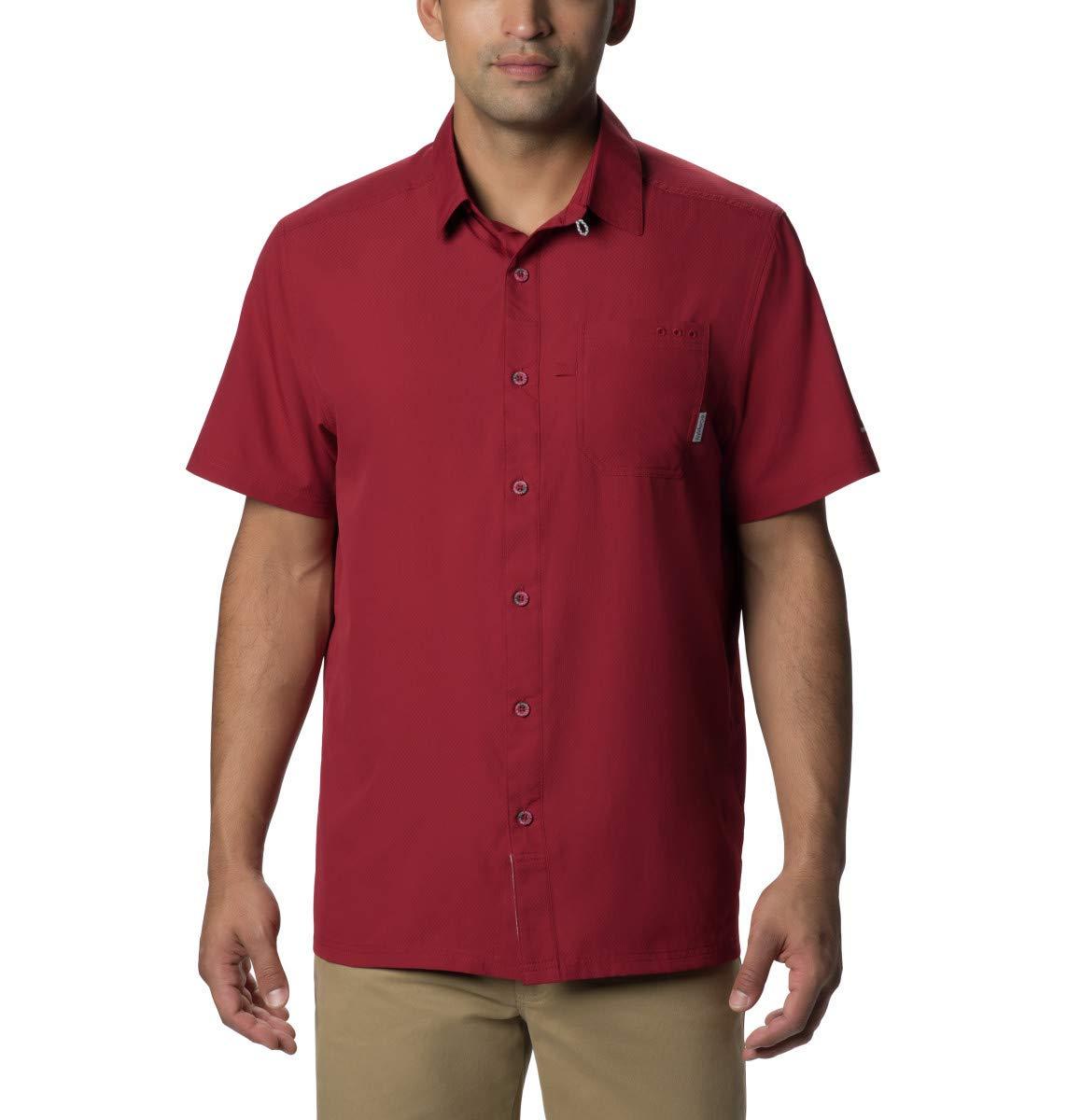 Columbia Standard Men's Slack Tide Camp Shirt, Moisture Wicking, Beet, Small by Columbia
