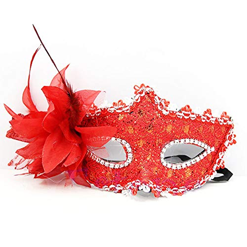 Masquerade Mask for Men Women Venetian Lace Masks Masquerade Party Half Face Masks Red -
