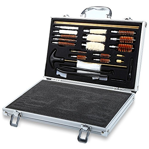 TecGeo(TM) Hot Sale 74PCS Universal Hand Gun Rifle Shot Gun Cleaning Smithing Kit Set With Case Rilfe Accessories