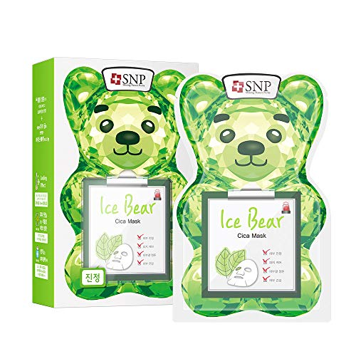 Face Calming (SNP | Ice Bear Cica Sheet Mask | Calming & Cooling Face Mask | Refresh & Revitalize Damaged Skin | Sheet Mask Pack of 10)