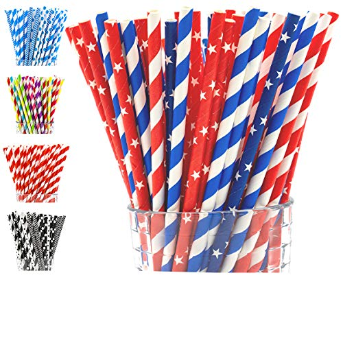 Paper Straws Biodegradable by Party Girl Kim - 200 Box | Stars and Striped - Red White and Blue Straws | 4th of July Decorations Outdoor | Memorial Day Party Supplies | Eco Friendly (Red White Blue) ()