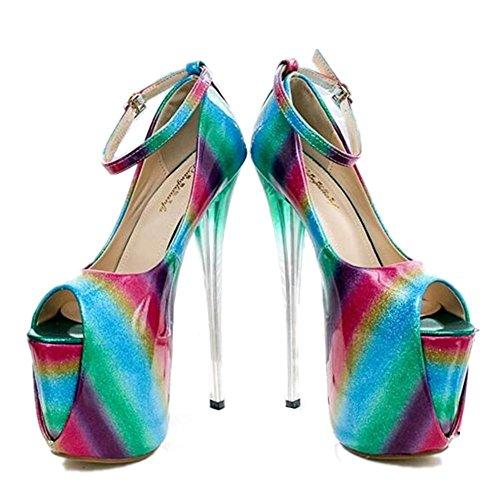 sale retailer c8941 45797 Xie Soirée Plate Fête Multicolore Club Sandales 41 nbsppompes Femmes  Chaussures Aiguille 35 Taille forme ...