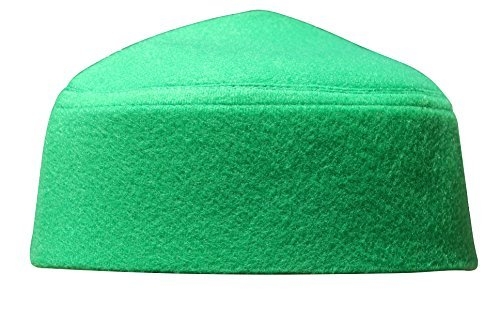 Fez Mens - Solid Green Moroccan Fez-style Kufi Hat Cap w/ Pointed Top (XL)