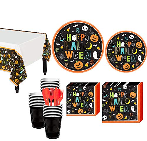 Party City Halloween Friends Tableware Supplies for 50 Guests, Include Adorable Paper Plates, Napkins, Cups, and More
