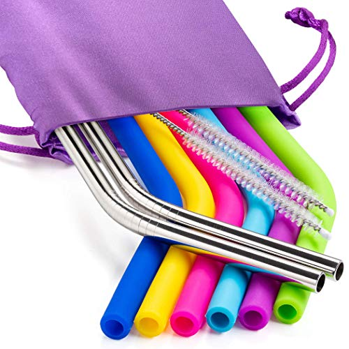 Silicone Reusable Drinking Straws and Stainless Steel Straws for 30oz Tumbler - Bundle Includes 6 long Silicone Straws + 3 Brushes + 2 Metal Straws and Storage Pouch, Regular Size, BPA Free