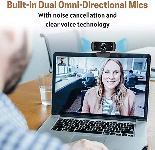 1080P 60FPS Webcam with Microphone, 2020 NexiGo N980P HD USB Computer Camera, Built-in Dual Noise Reduction Mics, 120 Degrees Wide-Angle for Zoom/Skype/FaceTime/Teams, PC Mac Laptop Desktop