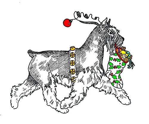 (10 Pack) Reindeer Miniature Schnauzer Christmas Card (Inside Reads: Merry Christmas!)