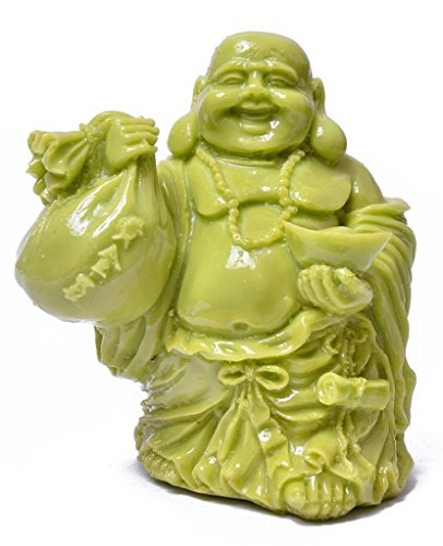 Feng Shui Marble - Cratly Handmade Marble Dust Feng Shui Laughing Buddha of Happiness for Money and Wealths (Beige, 7x10x11 cm Approx.)