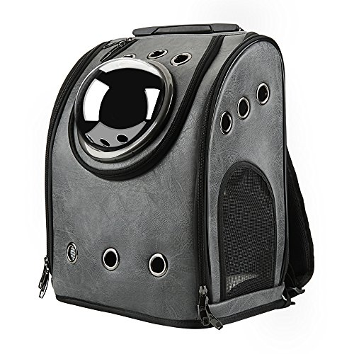 Texsens Innovative Traveler Bubble Backpack Pet Carriers Airline Travel Approved Carrier Switchable Mesh Panel For Cats And Dogs  One Size  Ash Black