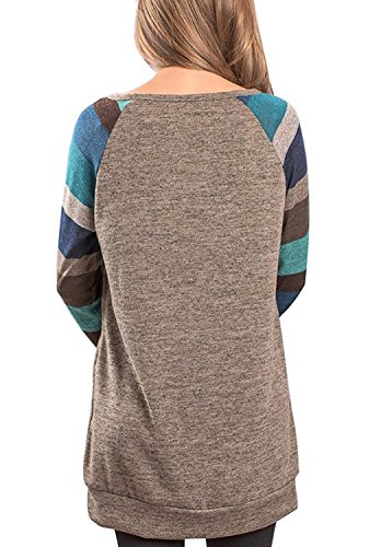 Kinikiss Damen Langarmshirt Elegantes Casual Dünnes Gestreift Rundhals Bluse Shirt, Grau/Bunt ( Large=EU40/42 )