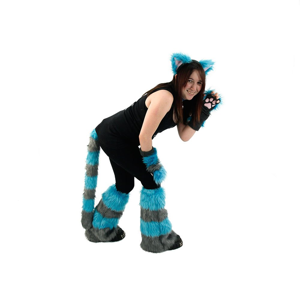 Pawstar Cheshire Cat Costume Set - Ears Tail Leg Warmers & Paw Gloves