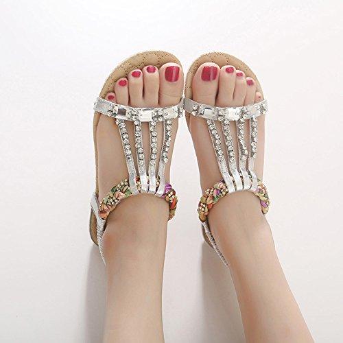 Sandals ZHIRONG Summer Rhinestone Weaving Open Toe Elastic Band Set Foot Slope Bohemia Beach Shoes (Color : Black, Size : EU40/UK7/CN41) Silver