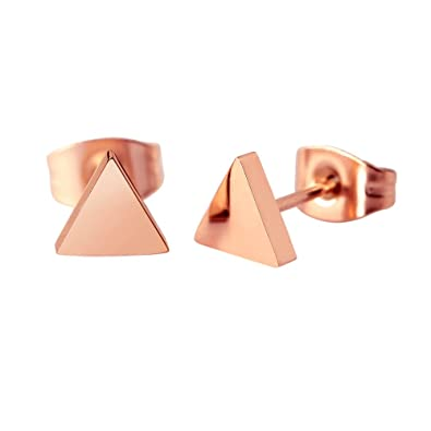 2af3d9502 Amazon.com: HANFLY 18k Rose Gold Plated Triangle Stud Earrings Fashion  Earrings Geometry Earrings (Pink): Jewelry
