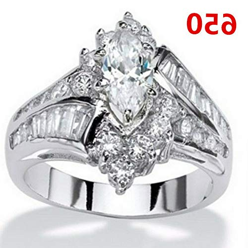 (Endicot Women Engagement Wedding Ring Crystal Rhinestone White Gold Plated Rings Jewelry | Model RNG - 5123 | 5)