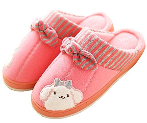 Blubi Femmes Moutons Coton Pantoufles De Confort Pantoufles Dintérieur Avec Semelle Épaisse Rose