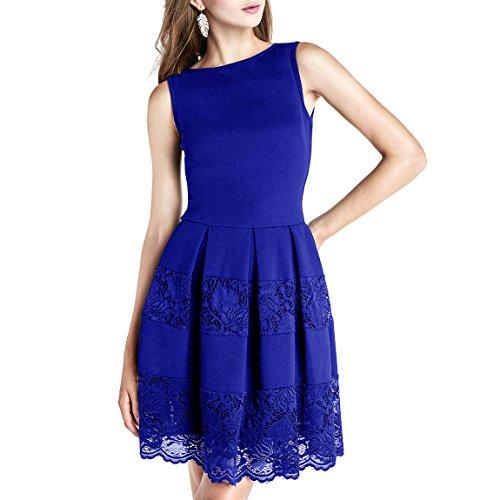 Dressystar Femmes Transparent Bleu Royal Sans Manches Cocktail Robe De Soirée Jupe En Dentelle Florale