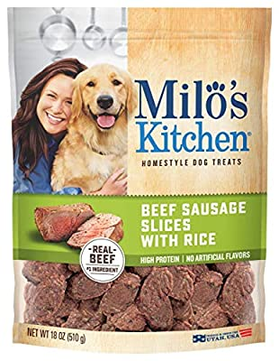 Milo's Kitchen Beef Sausage Slices with Rice Dog Treats, 18 Ounce (Each) from Milo's Kitchen