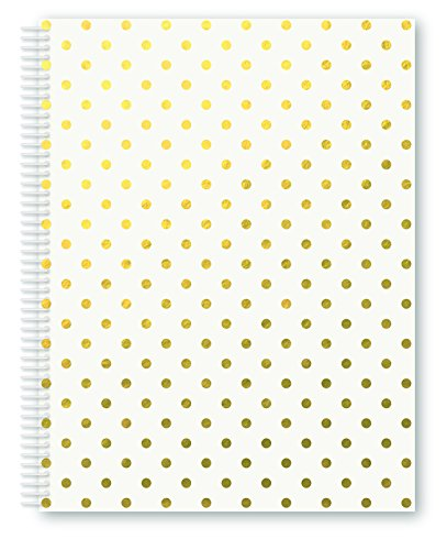"""Miquelrius Large 4 Subject Wirebound Notebook - Golden White Dots, Hardcover, (140 Sheets(280 Pages, Lined), 8.5"""" x 11"""" (White)"""