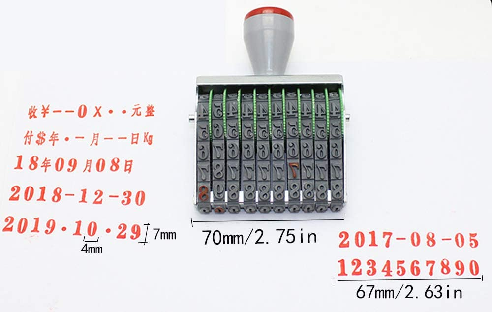 Number Stamp,Rubber Band Wheel Office Supermarket 10 Digit Number Date Printing Stamp Printer Numbering Stamp
