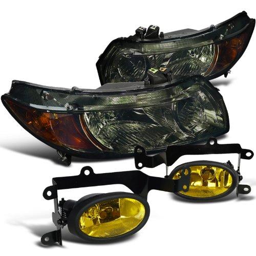 Honda Civic 2Dr Coupe Smoke Headlights+Bumper Yellow Fog Lights Lamps (Fog Yellow 2dr Lights)