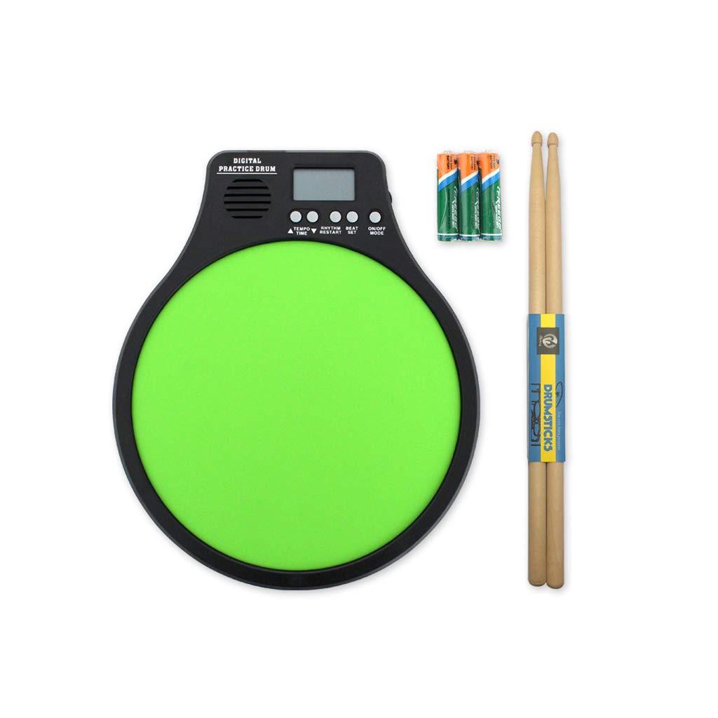 LINGLING-Tambor Juego de Almohadillas para batería muda de 12 Pulgadas Tablero de Golpe de Silencio Práctica de metrónomo Instrumento Funcional Tres en uno (Color : Green Dumb Drum)
