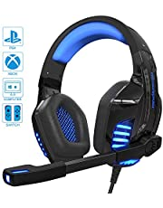 IGROME PS4 Headset, PC Gaming Kopfhörer auch für Xbox One & Nintendo Switch & Laptop, Bass Surround, mit Rauschunterdrückungsmikrofon, LED Licht, 3,5-mm Jack (mit 2 in 1-Adapter)