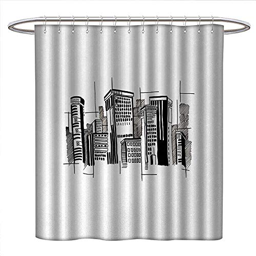 Anniutwo City Shower Curtains Fabric Abstract Monochrome City Architecture High Buildings Downtown Financial District Fabric Bathroom Set with Hooks W69 x L70 Black White from Anniutwo