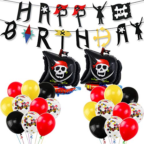 UTOPP Pirate Birthday Party Decorations, Pirate Happy Birthday Banner 12 Inches Yellow Red Black Balloons Themed Confetti Balloons for Children 1st 2nd 3rd 4th 5th 6th 10th Birthday Supplies -