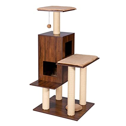 Amazon Com Good Life Modern Deluxe Cat Tree Wood Furniture House