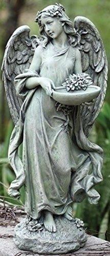 "Roman 15.75"" Joseph's Studio Angel Bird Feeder and Bath Outdoor Garden Statue"