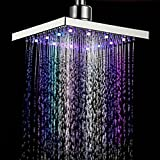 Monsoon Dual Spa Shower Head Set New 7 Colors LED Auto Changing Shower Square Head Light Home Water Bathroom Rain