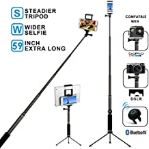 Bluetooth Selfie Stick Tripod with Remote 59Inch MFW Extendable Monopod with Tripod Stand for iPhone X/8/7/6/Plus,Tablet,Samsung S7/S8,Android, Valentine's Day Gift for Her or Him
