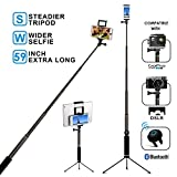 Bluetooth Selfie Stick Tripod with Remote 59Inch MFW Extendable Monopod with Tripod Stand and Bluetooth Shutter Remote for iPhone X 8 7 6 Plus - Tablet - Samsung S7 S8 - Android - GoPro - Camera
