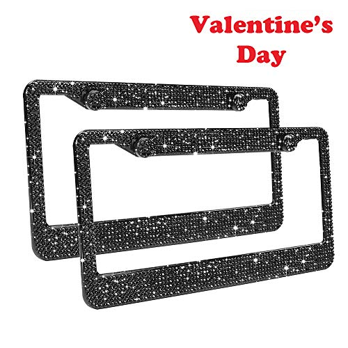 (Bling License Plate Frames 2 Pack - Luxury Pure Handcrafted Bling Rhinestone Premium Stainless Steel License Plate Frame for Cars with Anti-Theft Screws Caps Set Black)