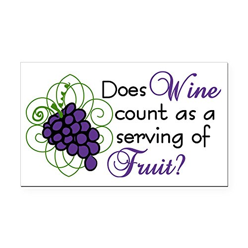 CafePress - Does Wine Count Rectangle Car Magnet - Rectangle Car Magnet, Magnetic Bumper Sticker ()