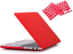 RUBAN Case Compatible with MacBook Pro 13 inch 2015 2014 2013 2012 (A1502 & A1425 Models), Plastic Hard Shell Case & Keyboard Cover for Old Version MacBook Pro Retina 13 Inch, Red