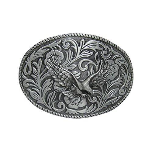 E-Clover Vintage Men's Western Eagle Belt Buckle Cowboy Engraved Oval Belt Buckles (Style1) (Silver Buckle)