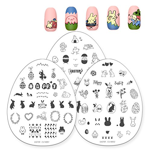 CICI&SISI 3Pcs Nail Art Stamping Template Set Bunny Design Cute Animal Manicure Print Image Plate Easter Theme -