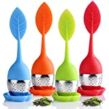 Houswill™ 4 Pack of Silicone Tea Infuser,Tea filters Loose Leaf Tea Strainers, Long-Handled, Stainless Steel with Drip Tray, Perfect for Single Serve Cup ,Mug, Tea Cup,Gift Box for Friends