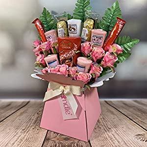 Yankee Candle Selection Bouquet Gift Hamper with Ferrero Rocher & Lindt Lindor Chocolates & Silk Pink Roses